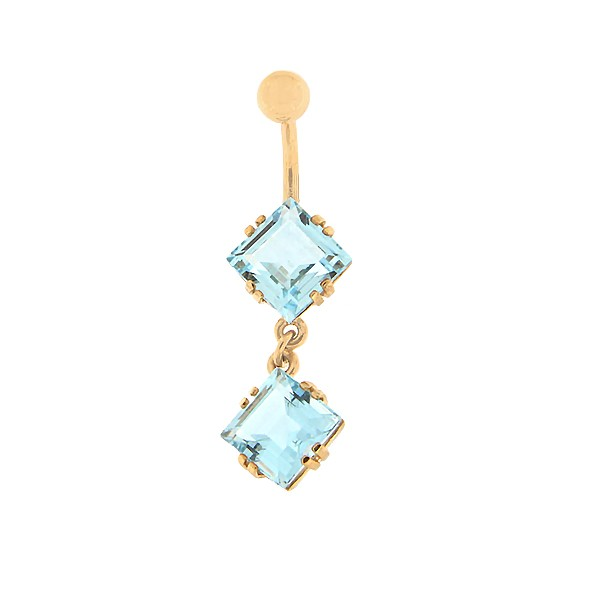 Gold belly button ring with topaz Code: pn0153-topaas