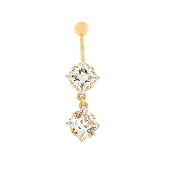 Gold belly button ring with zircon Code: pn0153-valge