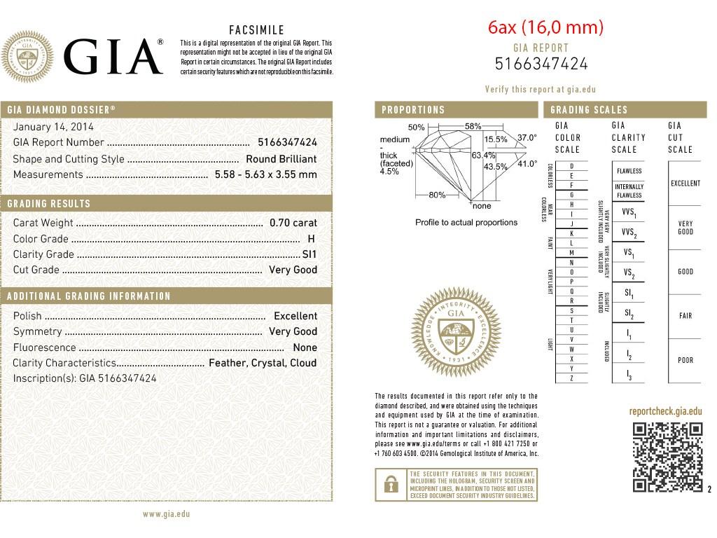 Kullast sõrmus teemantidega 0,70 ct. Kood: 6ax sertifikaat 3