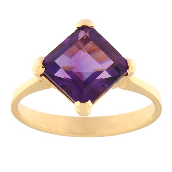 Gold ring with amethyst Code: rn0149-ametyst