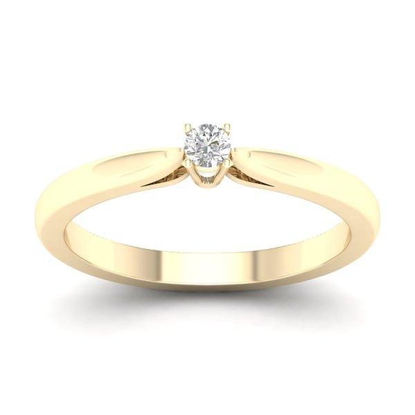 Kullast sõrmus teemandiga 0,10 ct. Kood: 82hb