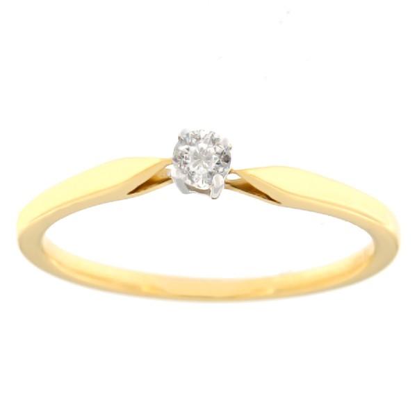 Kullast sõrmus teemantiga 0,10 ct. Kood: 19aa