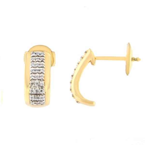 Kullast kõrvarõngad teemantidega 0,15 ct. Kood: 129ag