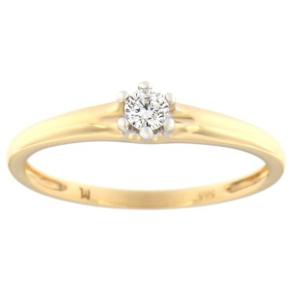 Kullast sõrmus teemantiga 0,10 ct. Kood: 68at