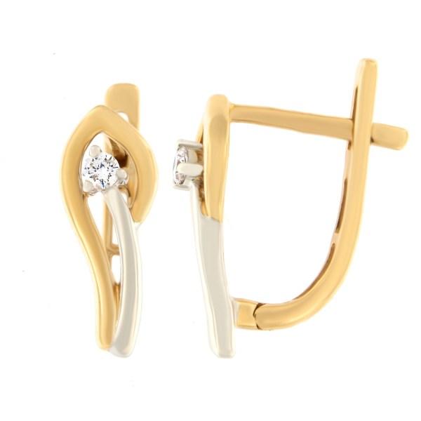 Kullast kõrvarõngad teemantiga 0,20 ct. Kood: 48ag