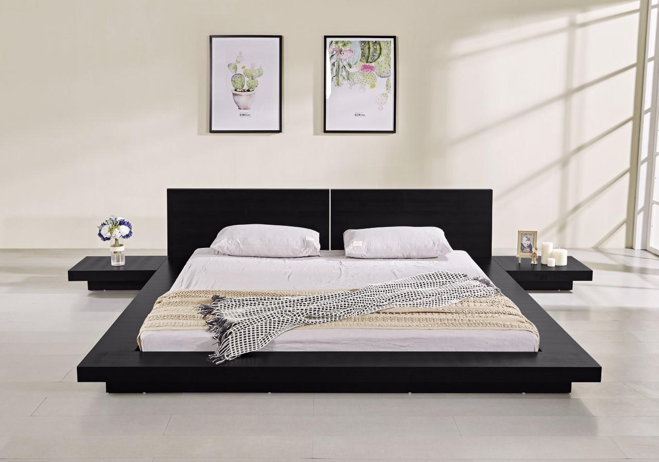 Fujian Modern Platform Bed Ash Black Matisseco