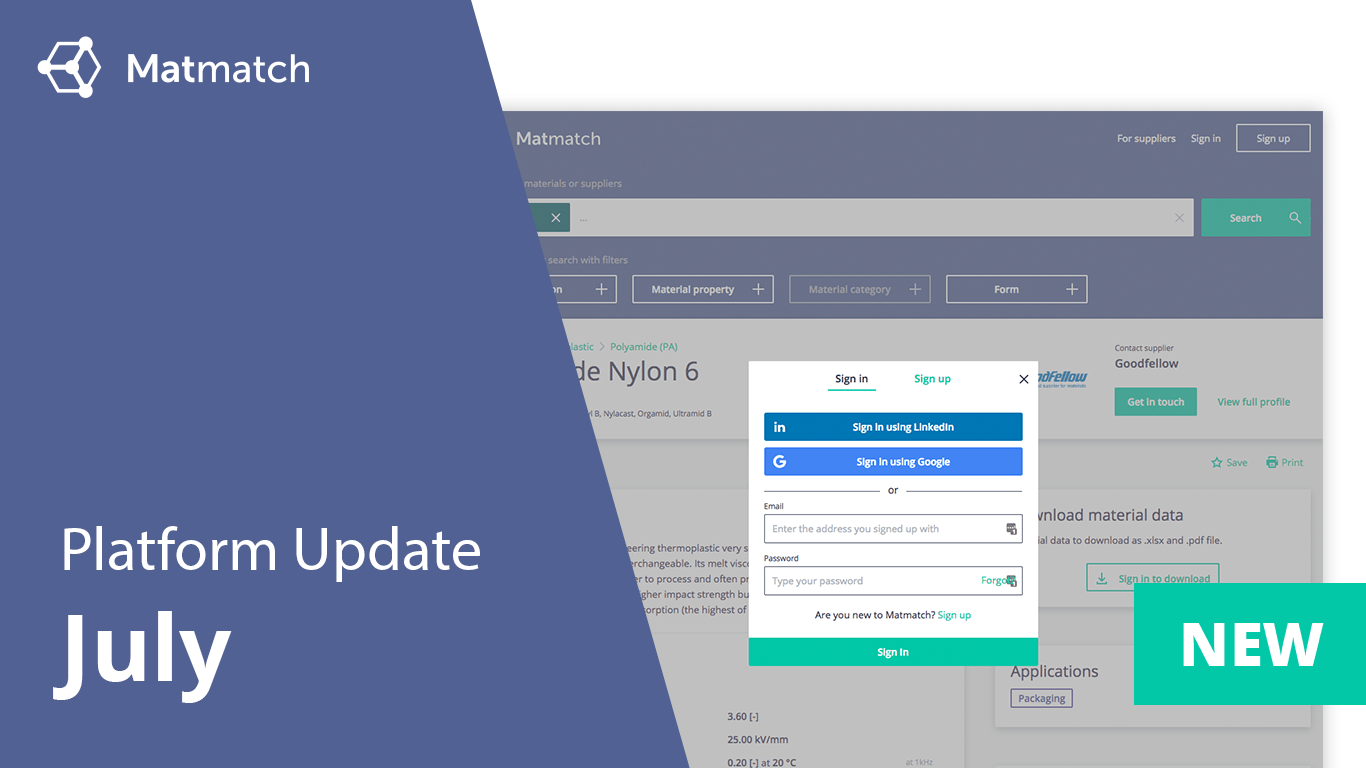 Matmatch July Platform Update