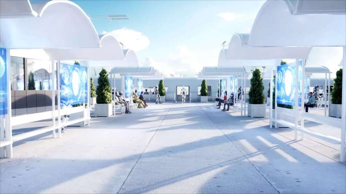 People and robots. Sci fi station. Futuristic monorail transport. Concept of future. 3d rendering. Hyperloop
