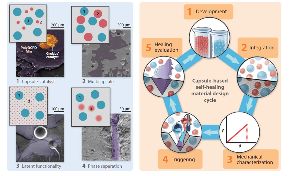 Fig.4: Schematic of capsule-based self-healing materials [3].