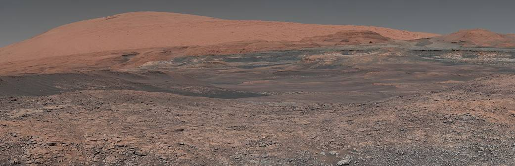This mosaic, taken by the Mars Curiosity rover, looks uphill at Mount Sharp.