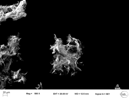 SEM images of graphene (Mag = 500x and 10,000x). (Courtesy of Italcementi press office)