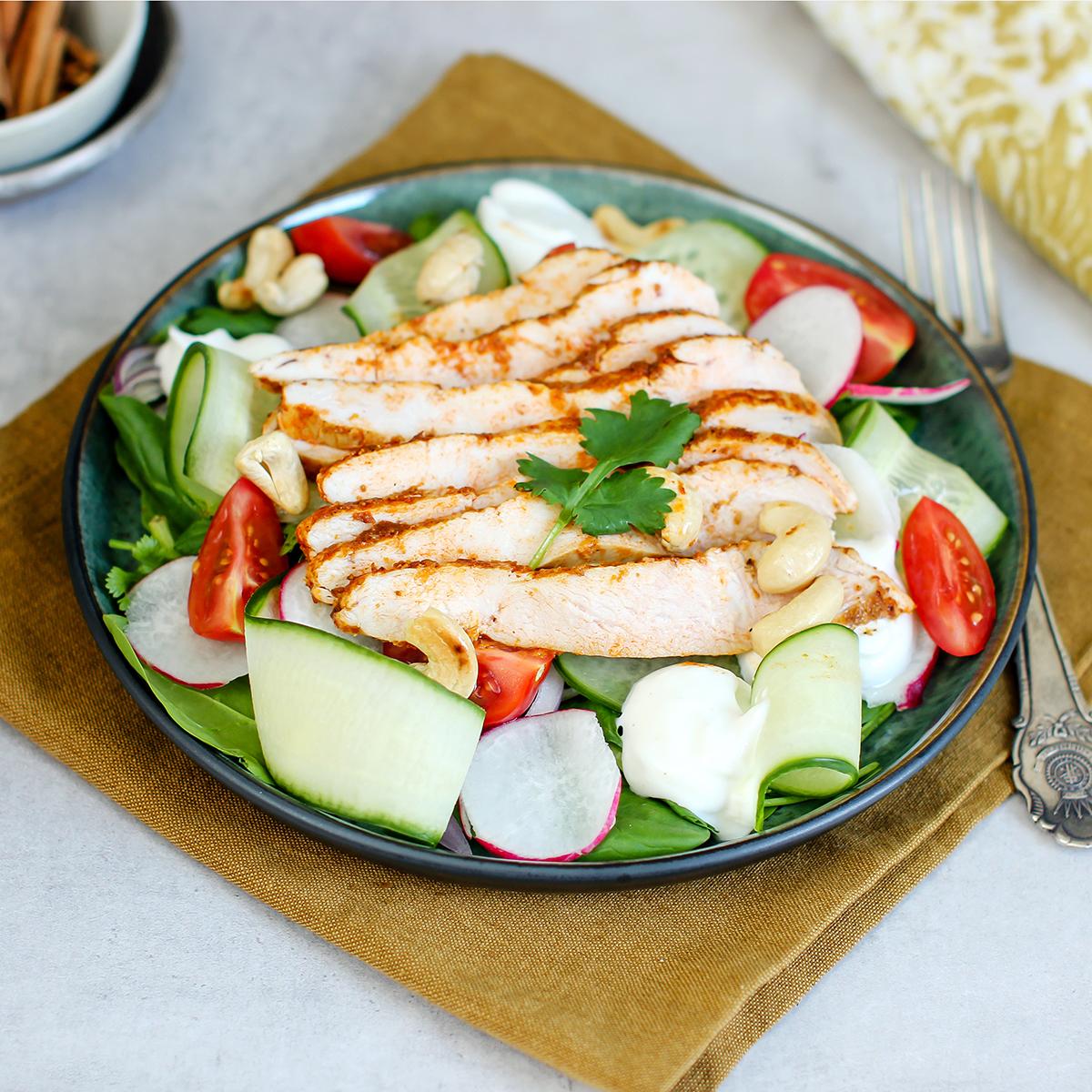indisk kyllingsalat lite kalorier