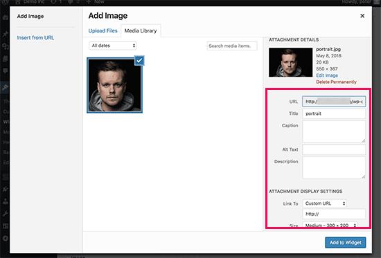 Add an Image in WordPress Widget - setting image