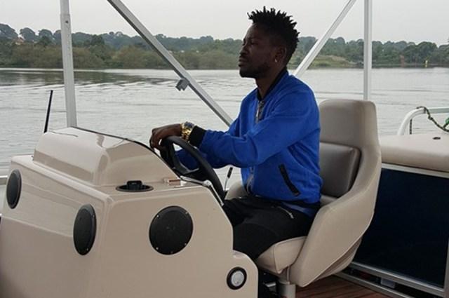Bobi Wine cruising on the lake in the new boat.