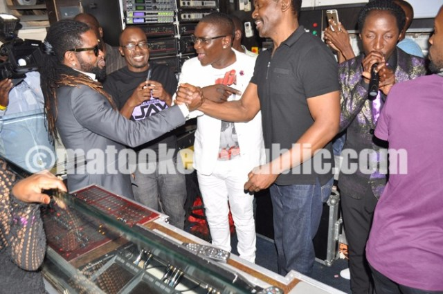 Guvnor owner Charlie Lubega and Mbuga's guests including tycoon Jack Pemba.