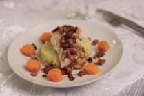 Sei med soyasaus, bacon, kapers og mandelpotetpuré