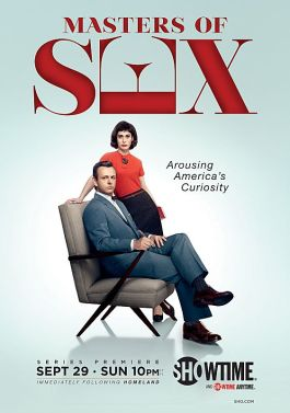 Michael Sheen as Dr. William Masters and Lizzy Caplan as Virginia Johnson in Masters of Sex (Season 1 keyart) - Photo: Courtesy of SHOWTIME