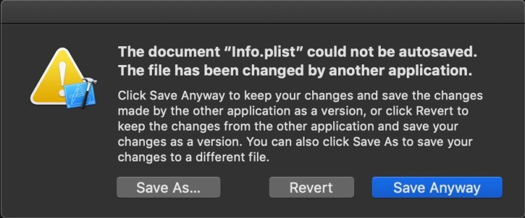 document could not be autosaved. The file has been changed by another application