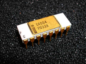 The Intel C4004, the very first commercially available microprocessor
