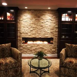 fireplace, living room, home, basement, remodel