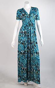 Teal Feather Faux Wrap Maxi Dress