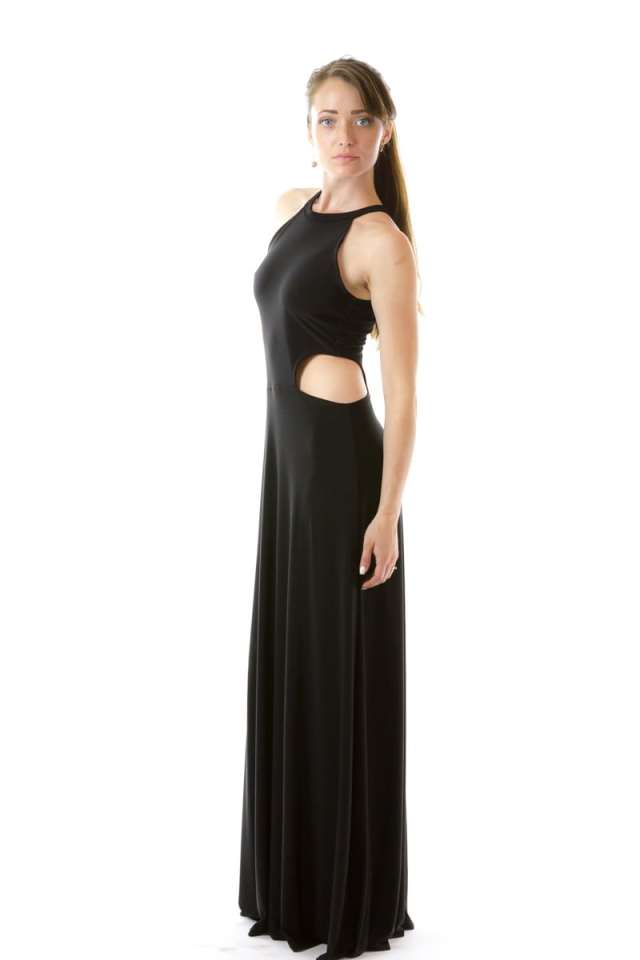 Black Cut Out Halter Dress