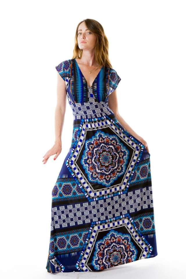 Fiesta In Blue Long Veronica Lake Dress