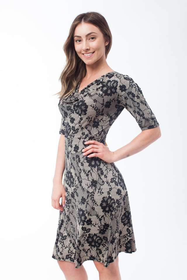 Faux Lace Cowl Neck Dress