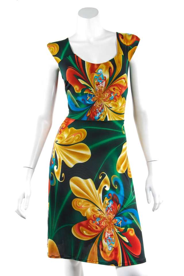 Green and Yellow Tie Back Dress