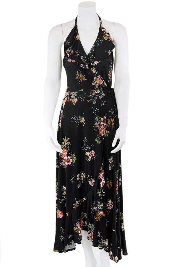 Summer Petals Scarlett Halter Wrap Dress