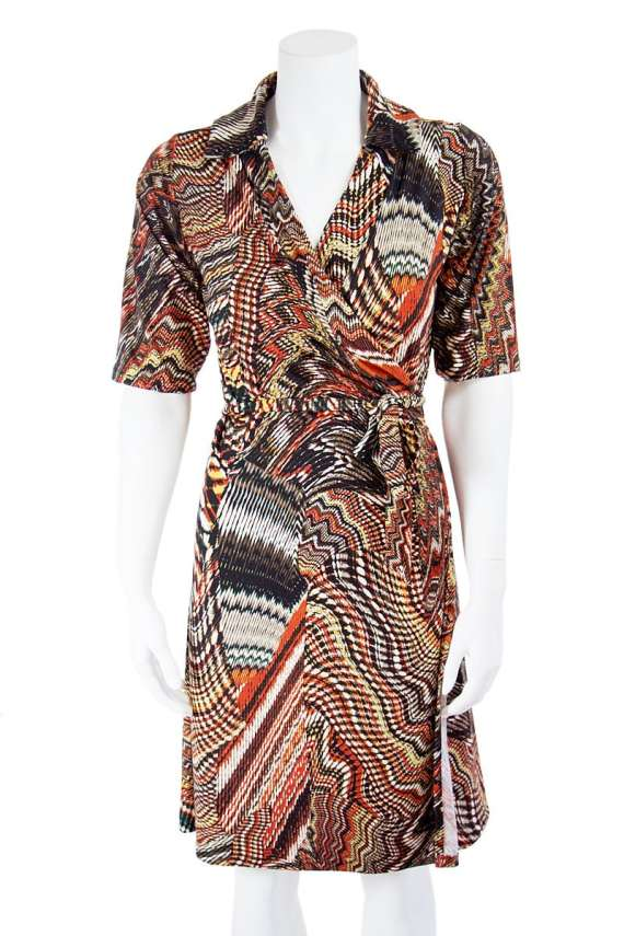 Fall Swirl Collared Wrap Dress