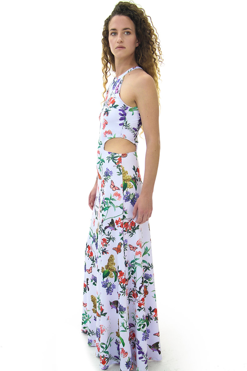 White Floral Cut out Halter