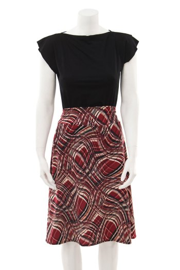 red swirly plaid skirt
