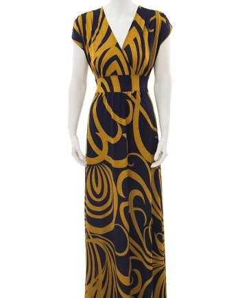Navy and Gold Long Veronica Lake