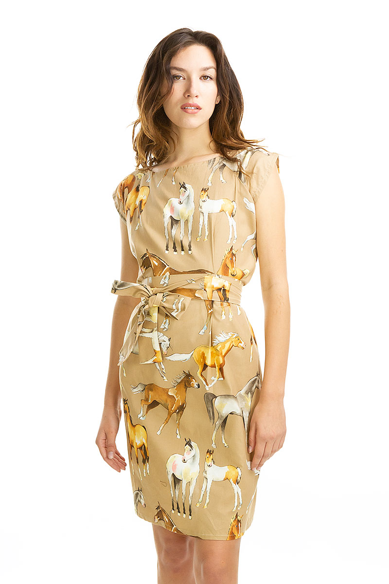 Frolicking Horse Belted Blouse Dress