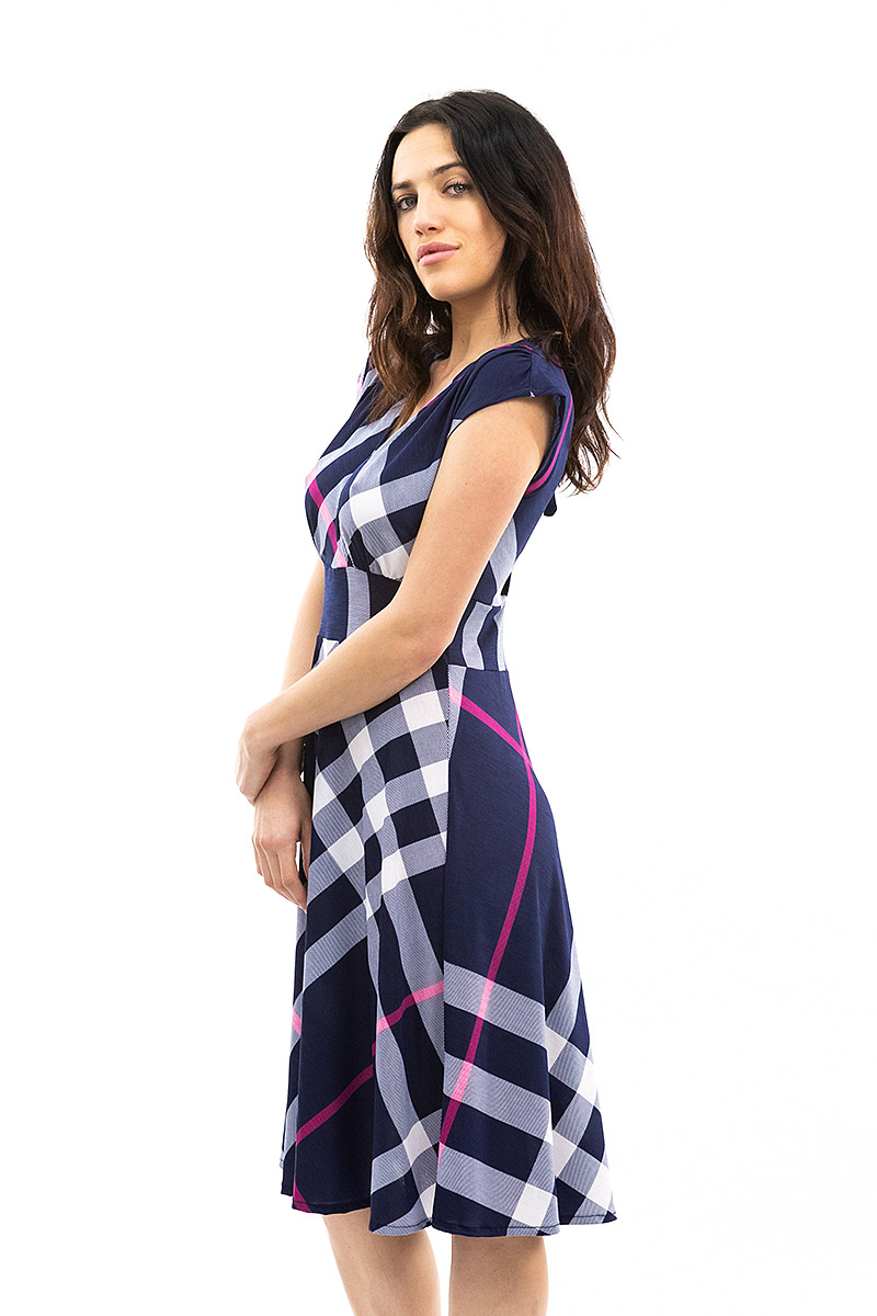 Navy and Pink Plaid veronica Lake Dress