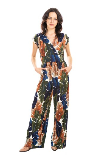 Palm Leaf Veronica Lake Jumpsuit