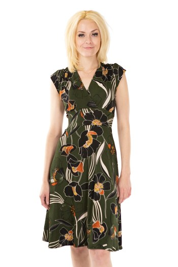 Poppy Green Veronica Lake Dress