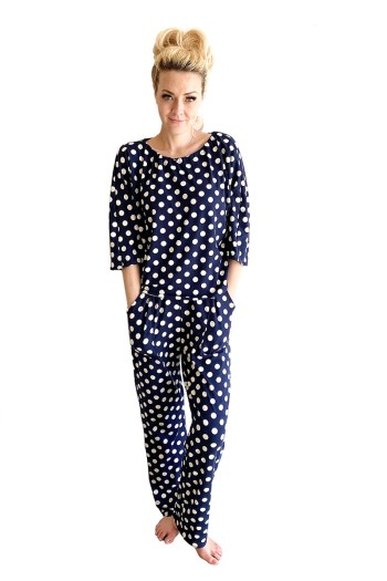 Navy and White Polka Dot Jams