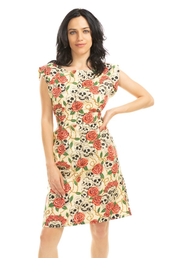 Skulls and Roses Belted Blouse Dress