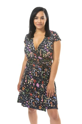 Black Botanical floral wrap dress