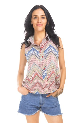 Zig Zag Button Down Top