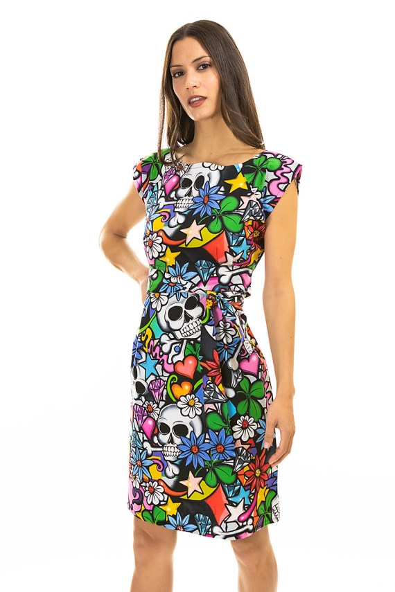 Graffiti Floral and Skulls Belted Blouse Dress