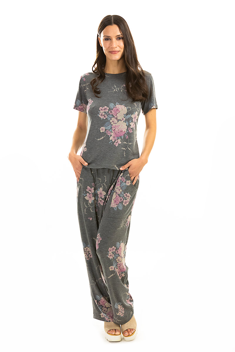 Grey Floral Pajamas