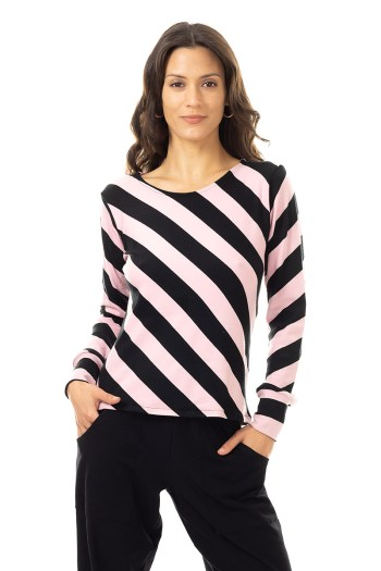Pink Diagonal Stripe Top