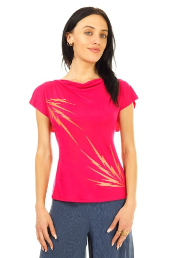 Magenta Lightening Bolt Cowl Neck T-Shirt