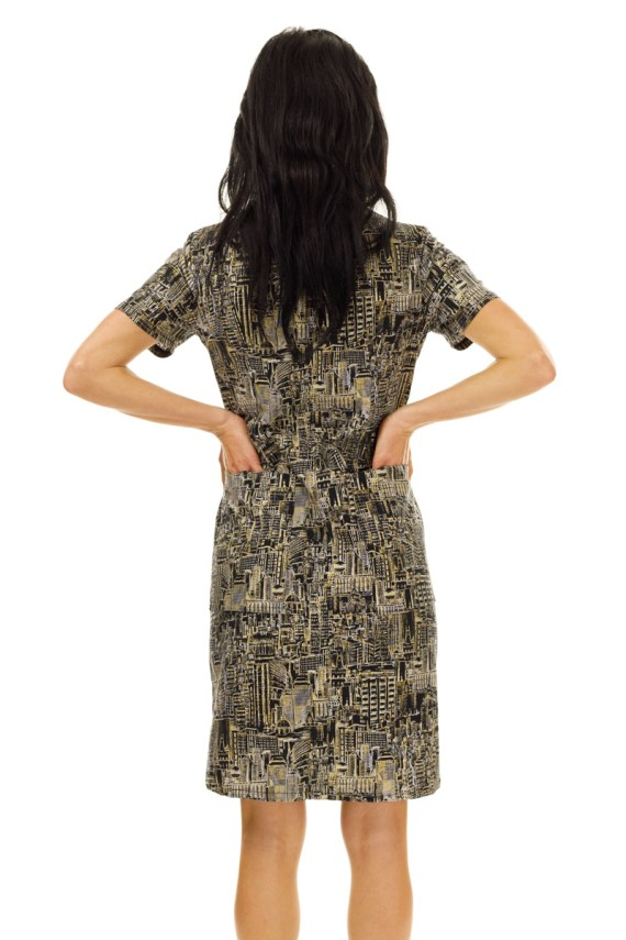 Midnight Gold Cityscape Coverall Dress