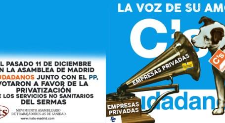 ASAMBLEA DE MADRID: CIUDADANOS Y PP VOTAN JUNTOS CONTRA LA SANIDAD 100% PUBLICA Y UNIVERSAL