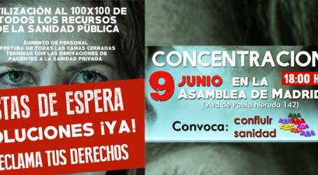 CONCENTRACIÓN 9 JUNIO frente a la Asamblea de Madrid. LISTAS DE ESPERA, ¡SOLUCIONES YA!