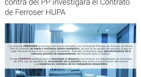 La Asamblea de Madrid, aprueba investigar el contrato del Hospital de Alcalá con Ferroser y la revisión de los dos despidos